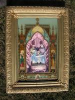 LEÁRAZVA  ! A Szent család. Mária - József és a kis Jézus. Porcelán alakok, zenélő szerkezet