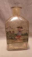 Antik festett üveg palack , nő fején kosárral