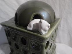 Párologtató - Osztrák kerámia - 15 x 10 x 10 cm  kályha cicával - tökéletes - hibátlan.