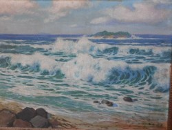 Sea. Signed antique high quality painting. Beautiful frame.