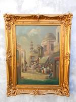 Arab utca kereskedőkkel.Szignózott kvalitásos antik festmény.