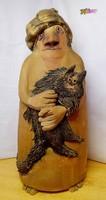 Nénike macskával. Vertel Andrea keramikus terrakotta szobor alkotása a 80-s évekből, egyedi ritkaság
