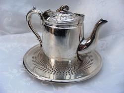Különleges, jelzett, ezüstözött, antik, teás vagy kávés kanna, hozzá ezüstözött, áttört edényalátét