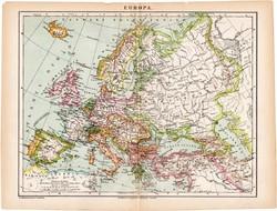 Európa térkép 1892, eredeti, antik, régi, Athenaeum, Brockhaus, magyar nyelvű, politikai, nép