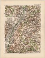 Baden térkép 1892, eredeti, régi, Meyers atlasz, német nyelvű, Németország, Európa, állam
