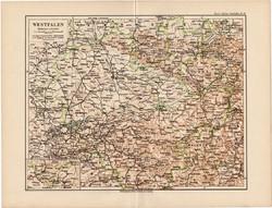 Vesztfália térkép 1892, eredeti, régi, Meyers atlasz, német nyelvű, Németország, Európa, Münster