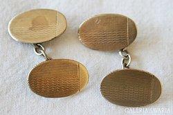 Antik Jelzett 9K Arany & Ezüst Mandzsetta Gomb Pár