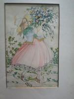 Karinthy Ada: Lány virágcsokorral