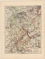 Rajnai tartomány térkép 1892, eredeti, régi, Meyers atlasz, német nyelvű, Németország, Európa, Köln