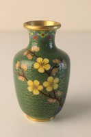 Kis réz váza rekeszzománc díszítéssel