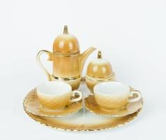 Vadász témájú - tölgyleveles makkos díszítésű két személyes kávézó szett - tete a tete