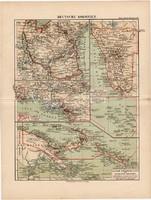 Német telepek, koloniák térkép 1892, eredeti, régi, Meyers atlasz, német nyelvű, gyarmat, Afrika