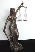 JUSTITIA EXKLUZÍV LÁTVÁNYOS NAGY BRONZ BEV. SZOBOR KOMPOZÍCIÓ, LUXUS AJÁNDÉK, ASZTAL DÍSZ