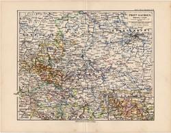 Szász tartomány térkép 1892, eredeti, régi, Meyers atlasz, német nyelvű, Németország, Európa, állam