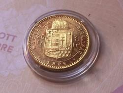 1889 arany 8 forint 6,45 gramm 0,900 gyönyörű darab