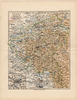 Poznan (Posen) térkép 1892, eredeti, régi, Meyers atlasz, német nyelvű, Németország, Európa, állam