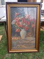 Kellemes színvilágú, nagy festmény, keretben, üveg mögött, 55x90+ keret