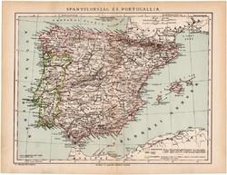 Spanyolország és Portugália térkép 1892, eredeti, antik, régi, Athenaeum, Brockhaus, magyar nyelvű