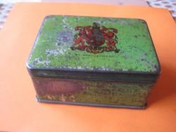 Antik fém  lemez  doboz  90x63x42 mm  kb száz éves