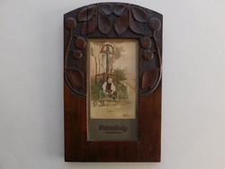 Festmény 1902 faragott fa keret Taby Lajos Mulandóság