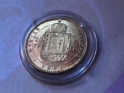 1887 arany 8 forint 6,45 gramm 0,900 gyönyörű darab