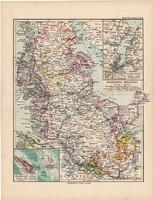 Schleswig - Holstein térkép 1892, eredeti, régi, Meyers atlasz, német nyelvű, Németország, Európa