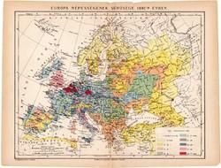 Európa népességének sűrűsége térkép 1892, eredeti, antik, régi, Athenaeum, Brockhaus, magyar nyelvű