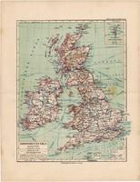 Nagy Britannia (Anglia, Írország) térkép 1892, eredeti, német nyelvű, régi, Meyers atlasz, Európa