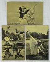 0W186 Fekete-fehér balett képeslap 3 darab