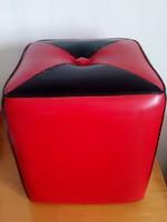 Ritka,retro,vintage,piros-fekete kocka alakú puff