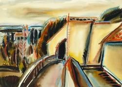 Misch Ádám - Soroksár 36 x 50 cm akvarell, papír