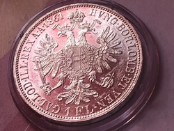 1861 ezüst 1 florin,szép darab kapszulában,így ritka!!