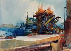 Istókovits Kálmán - A Szabadság híd újjáépítése 22 x 29 cm akvarell, papír 1946-ból