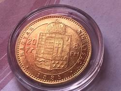 1885 arany 8 forint gyönyörű darab,ritkább 6,45 gramm 0,900