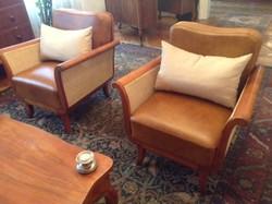 1920-as évekből elegáns art deco  marhabőrrel készült nádazott ülőgarnitúra 3+1+1