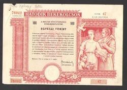 100 forint 1955. október 01. HATODIK BÉKEKÖLCSÖN!!  RITKA!!