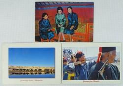 0W183 Színes mongol képeslapok 3 darab