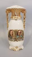 Ritkább alakú váza Ferenc József és Vilmos Császár portréjával