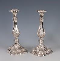 Ezüst antik bécsirózsás gyertyatartó párban