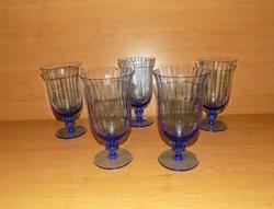 Antik talpas kék üveg pohár készlet 5 db (4/k)