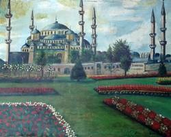Cserna Károly : Kék mecset. Olaj,fatábla. Mérete:50x64 cm.
