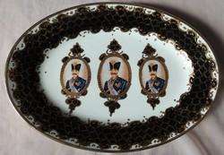 Kínai birodalmi vastagon aranyozott ovális  luxus tál
