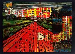 Friedensreich Hundertwasser: A szocializmus utcája lithográfia, 1982