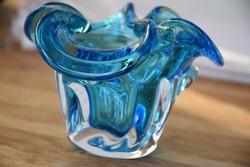 Muranoi Murano vastag nehéz üveg bonbonier díszüveg kínáló 10 x 14 cm