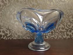 Kék üveg talpas tál  / 880