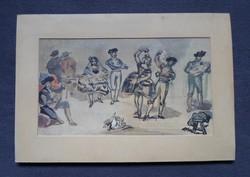 Manet: Spanyol balett c. festményének antik reprodukciója