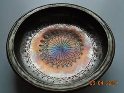 Hagyományos török ónozott nehéz  réz tál-24x6,5 cm,-600 g