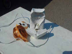 Baglyos lámpa és egy porcelán mécses tartó