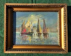 Agárdi Soós Lajos ritka témájú festménye eladó.