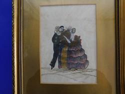 Hibátlan szép keretben hibátlan antik távol keleti selyemfestmény, udvarlási jelenet